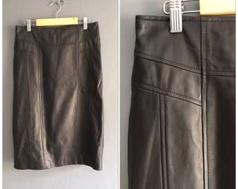 Black Real Leather Pencil Skirt Midi Small