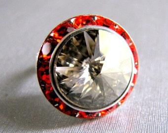 Silver Shade on Hyacinth Swarovski Crystal Ring Adjustable Silver Halo