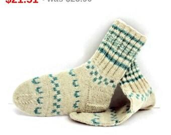 10%SALE Wool Women Socks. Hand Knitted Winter Socks. M socks size