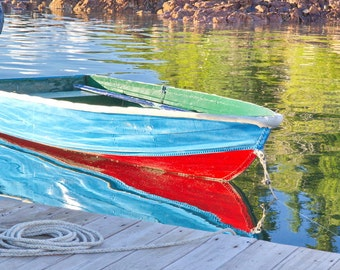 Brightly Colored Dinghy on a Maine Lake - Nautical Wall Art - Coastal Wall Decor Boat Photography