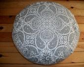 "Meditation Cushion. Zafu. Floor Pillow. Gray/white Paisley Medallion Print. 15x5. Buckwheat Hulls. 6"" Sidewall Zipper. Handmade, USA"