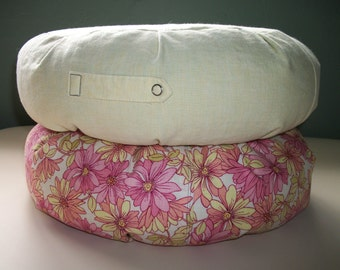 "Two UNFILLED Zafu Meditation Cushion covers. Yellow Linen. And Pink/Yellow Floral. 15"" D. x 5"" H. 6"" L. sidewall zipper. Handmade, USA"