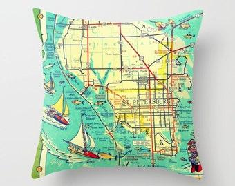St Petersburg FL Pillow Cover, Travel Gift, Florida Pillow, St Petersburg Gift, Wanderlust Gift