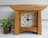 Mantel Clock, Cherry Clock, Wood Clock, Bungalow Clock, Craftsman Clock, Cherry Mantel Clock, Desk Clock,