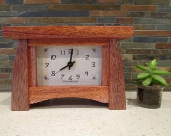 Bungalow Clock, Mahogany Mantel Clock, Wood Clock, Craftsman Clock, Mahogany Clock, Mantle Clock, Desk Clock, Mahogany
