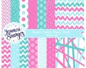 teal and pink digital papers or backgrounds for commercial use or personal use