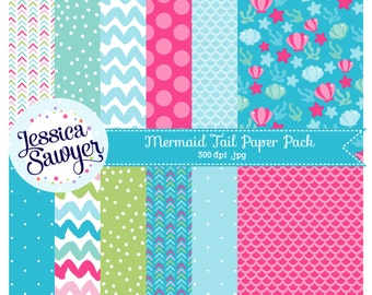 INSTANT DOWNLOAD, mermaid digital papers or pink blue and aqua backgrounds