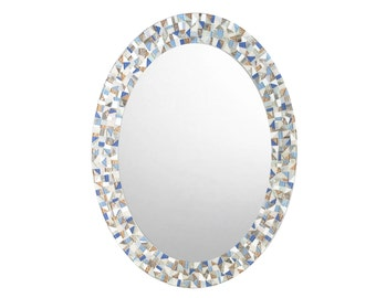 Mosaic Mirror / Oval Wall Mirror / Mirror for Beach House / Blue and Copper