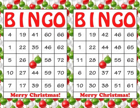 Fan image with christmas bingo card printable
