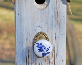 Small White Roundtop Birdhouse with Porcelain Blue Rose Perch, Antique Brass Backplate and Rusty Tin Roof