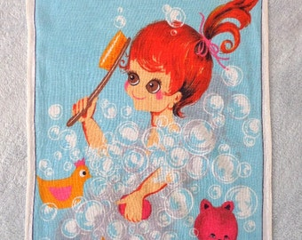 Vintage Lamont Irish Linen Kitchen Tea Towel Bubble Bath Big Eyed Girl