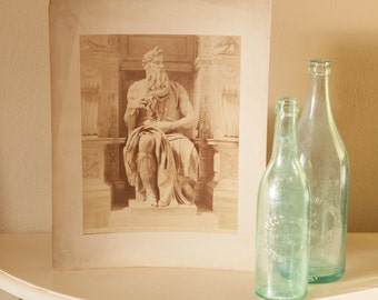 Statue of Moses by Michelangelo - Large Albumen Photograph - Original Early 1900's Image