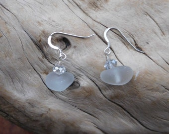Genuine sea glass earrings.  Rare GRAY color.  Gray Swarovski rondelle crystal and silver plate ear wires.