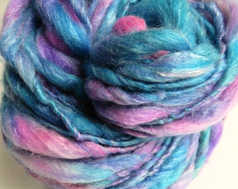 Handspun Yarn, Thick and Thin, Art Yarn, Superwash Merino, Bamboo, Nylon Bulky, Single Ply, Wool, Mermaid