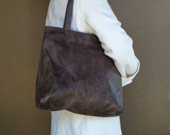 Distressed Leather Tote Bag - Casual Shoulder Purse - Vintage  Totes Style - Shopper Handbag - Handmade Bags yosy