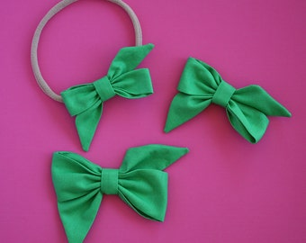 "The ""Mae"" Grass green bow headband or clip"
