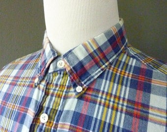 RARE Vintage Polo by Ralph Lauren 100% Cotton Indian Madras Plaid Short Sleeved POPOVER Casual Shirt XL   17 1/2. Made in India.
