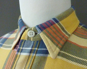 RARE Vintage Polo by Ralph Lauren PRL Outfitters Multicolored Plaid Tartan Casual Chore Work Shirt L | 17 - 37.  Made in India.