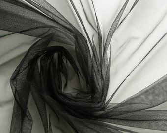 Black Soft Tulle Veiling Fabric 150cm wide -  Sold by the metre (H2)