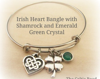 Irish Heart Stainless Steel Bangle Bracelet with Shamrock Charm and Emerald Green Crystal