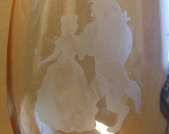 Etched Beauty and the Beast Wineglass