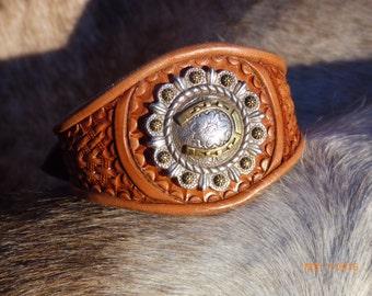 Hand Tooled Leather Bracelet with Horseshoe Concho