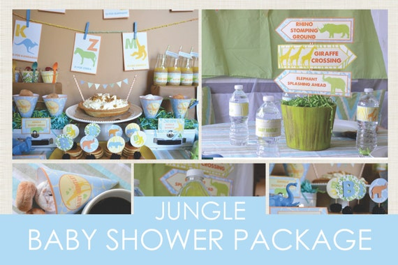 Baby Shower Decoration Packages : Jungle safari printable baby shower package