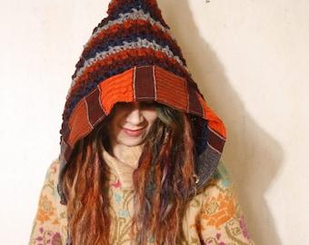 Gnome hat Knit hood Crochet hood Stripped crochet hat Pixie hat Adult crochet hat Winter hat Crocheted hood woman gift  Hooded hat Elven
