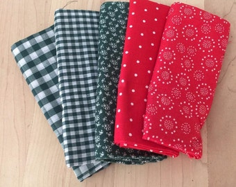 Christmas Colors, 5 Coordinating Fat Quarters, Calico Gingham Polka Dots, Red Green Cotton Fabric