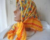 Vintage Echo scarf 1960s silk floral 26 x 26 iches