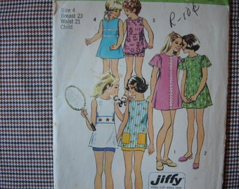 vintage 1970s Simplicity sewing pattern 5597 girls jiffy dress or tunic and shorts size 4