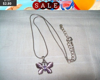 SALE 60% Off vintage butterfly pendant necklace, purple butterfly pendant, butterfly jewelry
