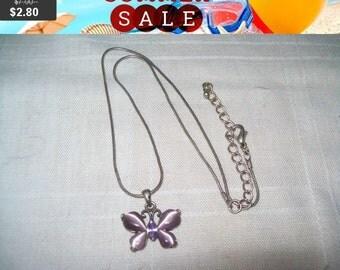 SALE 60% Off vintage butterfly pendant necklace, purple butterfly pendant, butterfly jewelry