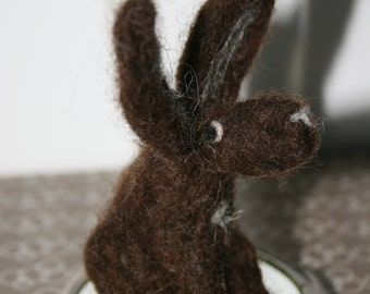 Baby Brown Needle Felted Hare