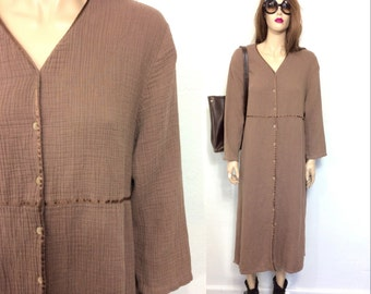 Vintage 80's Dress 90's Dress Minimalist Dress J Jill Dress Brown Oversized Dress Boho Hippie Slouchy Dress Sack Dress Baggy Clothing XL P