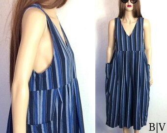 80's Dress 90's Dress Minimalist Dress Tank Dress 90's Dress Striped Dress Vintage Dress Vintage Minimalist Dress 90's Revival Dress