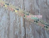 "Peacoat Made With Love US Designer 7/8"" Grosgrain Ribbon - Gold Heart - Cute Saying"