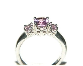Alexandrite Ring, Three Stone Anniversary Ring, Sterling Silver