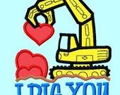Truck I Dig You APPLIQUE Embroidery Design  INSTANT DOWNLOAD