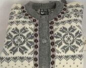 Dale of Norway, Wool cardigan sweater, grey, gray, pewter buttons. size 38 XS