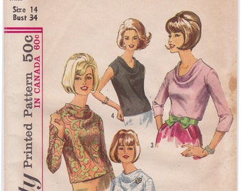 "FF 60s Blouse in 2 Styles Cowl Neckline, Vintage Sewing Pattern - Simplicity 6239 - Size 14, Bust 34"", UNCUT"