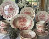 Reserved  Alfred  Meakin  Red Transferware  Dinnerware Set Medieval Castles 28 pieces