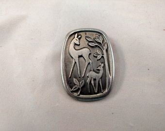 Pewter Brooch Made in Norway, Two Deer, Signed