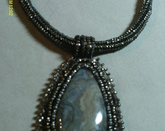 Bead Embroidered Stormy Gray Green Necklace and Earrings Magnetic Clasp