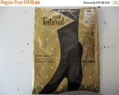ON SALE vintage. HOSIERY. textured. Gray. seamless. Nos. 1964. thigh high.