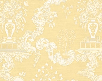 Gold Toile Upholstery Fabric - Light Gold Asian Toile Pillow Covers - Heavyweight Furniture Fabric - Woven Chinoiserie Upholstery Fabric