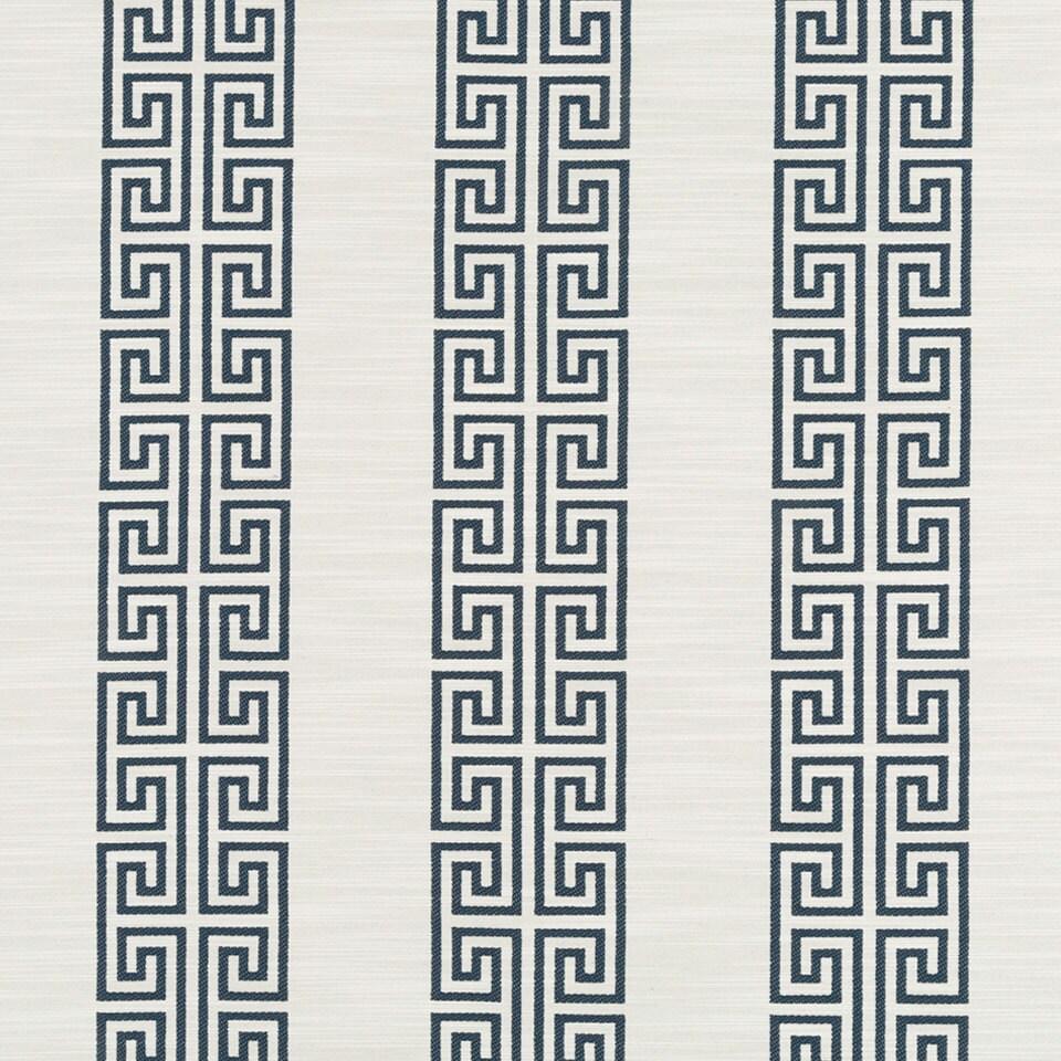 Navy Blue Greek Key Stripe Upholstery Fabric Geometric Blue