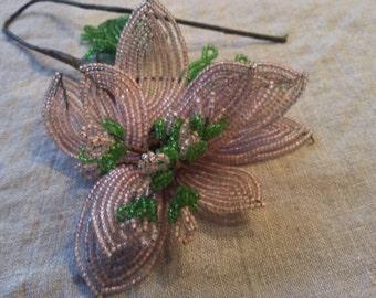 Vintage Pink French Beaded Flower Stem *Pink Flower