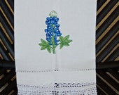 Bluebonnet Linen Hand Towels with Crocheted Edge