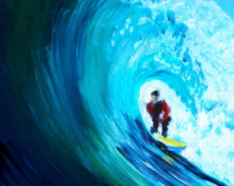 "Original Art Surf Painting 5 x 7"" Wave Ocean Surfboard Surfer"